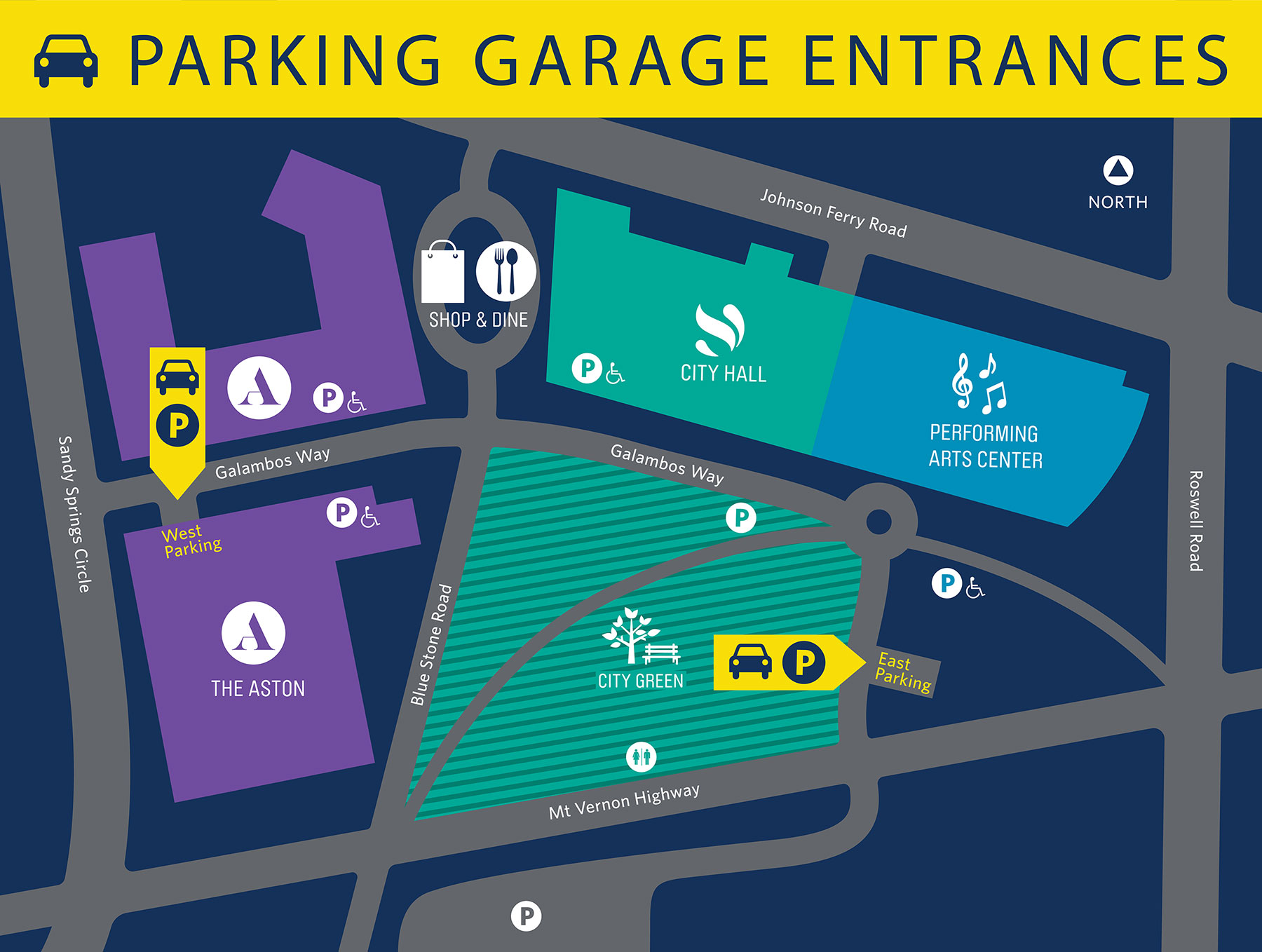 Map Indicating Parking Garage Entrances
